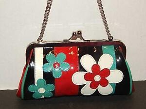 IsaBella Fiore Women Patent Leather Clutch Satchel Handbag Flower Small Bag