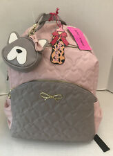 Betsey Johnson Diaper Bag Backpack Hearts Travel Blush 3 Piece BBD1815 NWT $158