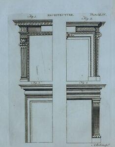 1797 ORIGINAL PRINT ARCHITECTURE VARIOUS DOORWAYS