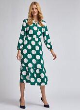 Dorothy Perkins Womens Green Long Sleeve Tie Smock Midi Dress Polka Round Neck