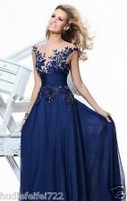 Evening Formal Prom Party Cocktail Dresses Wedding Gown Long Blue Applique*