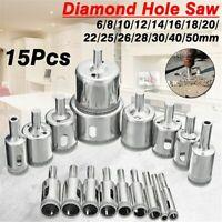 Drill Diamond Hole Saw 15 Pcs Heads Ceramic Porcelain Glass Marble Masonry Drill