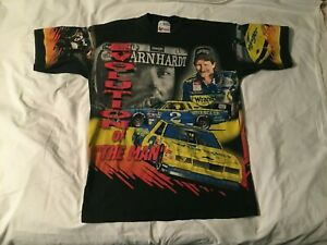 VTG 1998 DALE EARNHARDT EVOLUTION OF THE MAN ALL OVER BLACK T SHIRT SIZE L CHASE