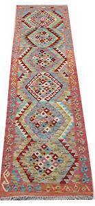Red Multi Coloured Genuine Afghan Handmade Tribal Wool Kilim Rug Runner 70x302cm