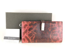 Authentic GUCCI Red Genuine Python Skin Card Bill Coin Long Bifold Wallet + Box