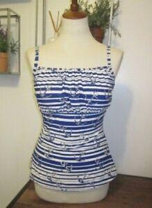 Castaways Women's Tankini Top Swimsuit Blue White Striped Anchors Nautical SZ 10