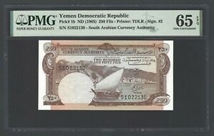 Yemen Democratic Republic , 250 Fils ND(1965) P1b Uncirculated Grade 65