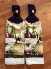 Set Of 2-crochet Top-double Thickness-kitchen Towels-wine & Grapes - Purple