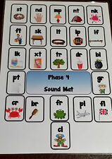 PHASE 4 SOUND MAT - YEAR 1 KS1 KS2 - PHONICS - A4 LAMINATED POSTER
