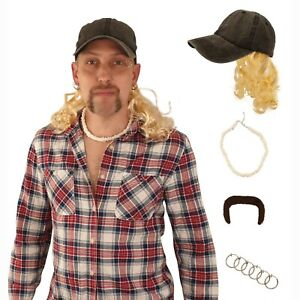 Exotic Cosplay Black Hat with Blonde Wig Clip Earrings Necklace and Mustache