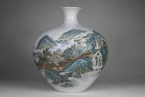 Antique Chinese 20th C Famille Verte Landscape Vase Calligraphy Yongzheng Mark