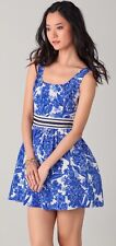 NWT JUICY COUTURE HYACINTH SILK BLUE FLORAL DRESS AUTHENTIC 0 XS