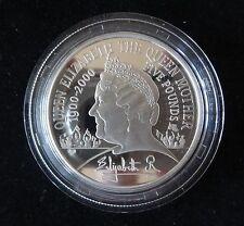 2000 plata prueba de Reino Unido £ 5 Piedfort moneda Reina Madre's centenario cumpleaños.