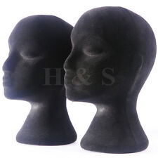 2x Polystyrene Female Mannequin Head Dummy Wig Stand Shop Display Hat Cap -Black