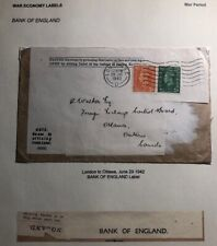 1942 London  England Bank War Economy Label Cover To Ottawa Canada