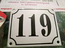 Hausnummer Emaille Nr. 119 schwarze Zahl auf weißem Hintergrund 12 cm x 10 cm