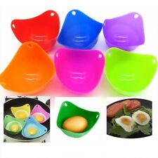 4x Silicone Egg Poacher Poach Pod Cookware Poached Baking Cup Tools Random color