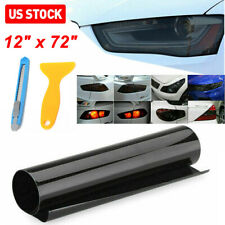 "*12""x72"" Gloss Dark Black Smoke Headlight Taillight Fog Light Tint Film Vinyl Us"