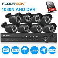 FLOUREON Caméras Sécurité Système 1080P 8CH DVR 8X 3000TVL 2MP Caméras +1TB HDD