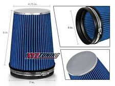 "6"" BLUE Truck Long Performance High Flow Cold Air Intake Cone Dry Filter"