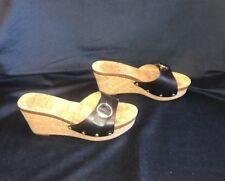Tommy Hilfiger Womens Black Leather Platform Sandal With Cork Heel Size 8M