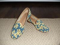 Blue & Gold Coral Design STUBBS & WOOTTON Needlepoint Flat Shoes   Sz 6M