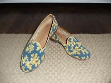 Blue & Gold Coral Design STUBBS & WOOTTON Needlepoint Flat Shoes   Sz 6M