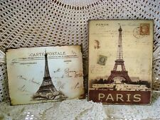 Set Of 2 French Eiffel Tower Metal Vintage Style Postcard Wall Hangings *Chic*