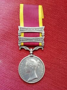2nd China War Medal Canton 1857/Taku Forts 1860 Un-named As Issued