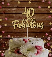 GOLD GLITTER 'FORTY AND FABULOUS'  CAKE TOPPER BIRTHDAY PARTY 50th birthday