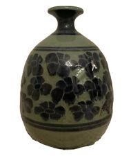 RARE! Vintage Large Stoneware Ceramic Vase Blue Flowers Signed