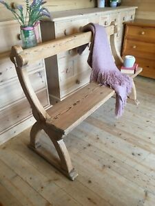 Antique solid pine wooden church pew hall seat settle monks bench dining bench