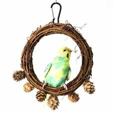Natural Cage Hanging Rattan Bird Toys Pine Cones Decor Parrot Swing Perch
