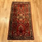 Vintage Rug 2' 1 x 4' 2 Red Floral Farmhouse Hand Knotted Oriental Rug
