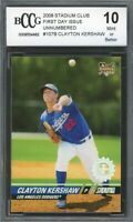 2008 Stadium Club First Day Issue #107B Clayton Kershaw Rookie BGS BCCG 10 Mint
