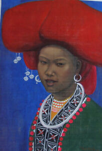 Rustic beauty orig silk painting Yen Nguyet b1969 HIFAC & another cheaper