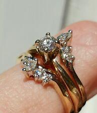 .55 CT 1/2 CT 14k Yellow Gold Diamond Wedding Engagement 2 ring guard Wrap set