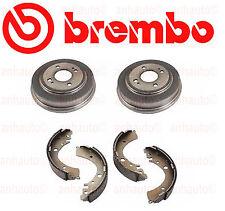 Set of 2 Brembo Rear Brake Drums & Aftermarket Rear Brake Shoes Honda Civic NEW