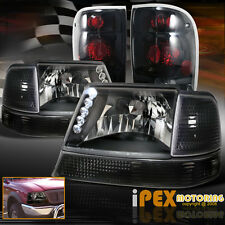 1998-2000 Ford Ranger LED Black Headlight w/ Corner Signal+Dark Smoke Tail Light
