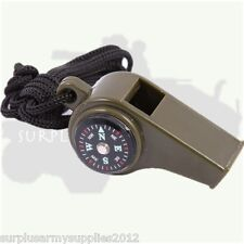 MILITARY 3 IN 1 SURVIVAL WHISTLE COMPASS TEMPERATURE ARMY HILL WALKING CAMPING