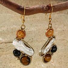 New Tara Mesa Golden Jasper, Tiger's Eye, Onyx & Biwa Pearl Earrings