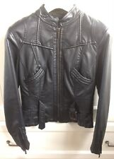 7362c55fd Zara Ladies Black Fitted Faux Leather Biker Bomber Jacket Rocker UK 10 (EU  38)