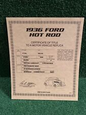 "Danbury Mint ""The 1936 Ford Hot Rod"" certificate of title!"""