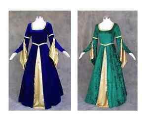 Blue Green Velvet Medieval Renaissance Cosplay Wench LARP Dress Costume Gown