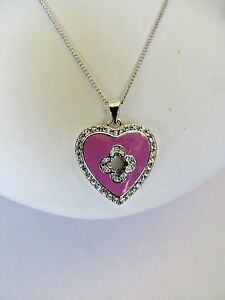 Marie Claire Pink Enamel Heart Pendant with Swarovski Crystals