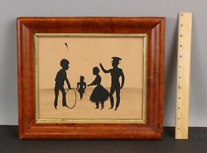 Mid-19thC Antique Folk Art Silhouette Ink Painting, Children & Games