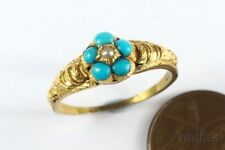 LOVELY ANTIQUE GOLD TURQUOISE PEARL FORGET ME NOT RING c1860