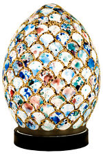 Fabulous Mini Mosaic Glass Egg Blue White Shell Table Lamp ,Desk Bedside LM77BLT