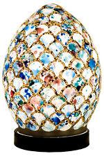 FAVOLOSO MINI UOVO Mosaico in Vetro Bianco Blu Shell Lampada da tavolo, tavolo da comodino LM77BLT