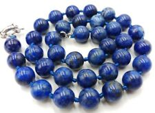 Natural 10mm Blue Lapis lazuli Gemstone Round Beads Necklace 18''